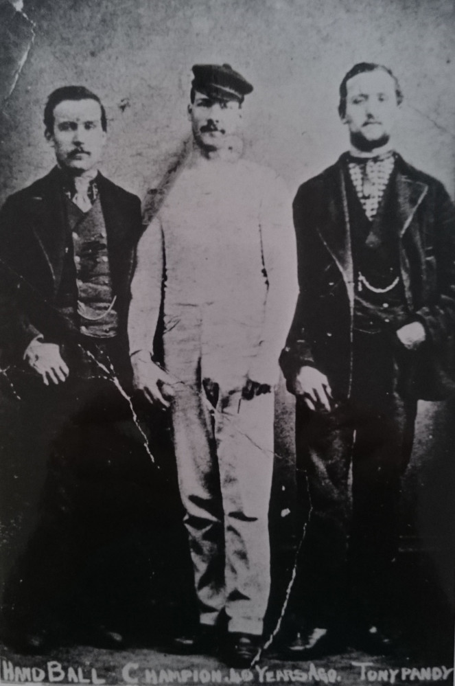 James O Jenkins Pêl-Law Wil o'r Wern, Tonypandy Handball Champion pictured with his backers, 1880 (© Museum of Welsh Life) Wil o'r Wern, Tonypandy Handball Champion pictured with his backers, 1880 (© Museum of Welsh Life)